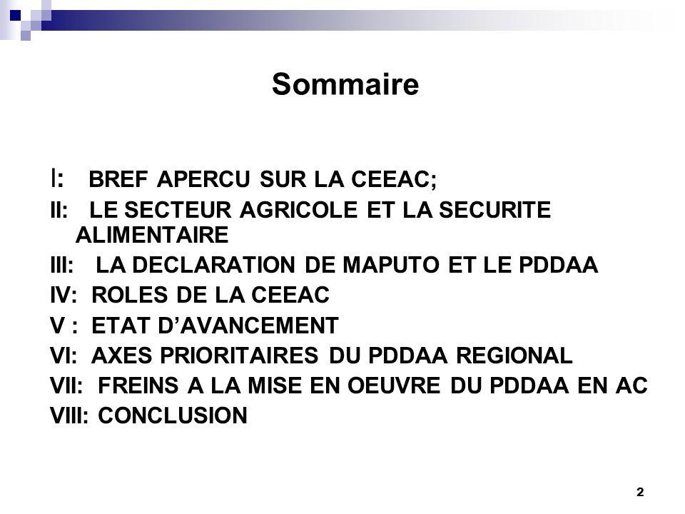 Sommaire I: BREF APERCU SUR LA CEEAC;