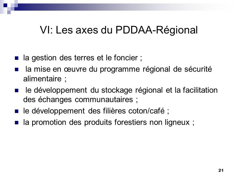 VI: Les axes du PDDAA-Régional