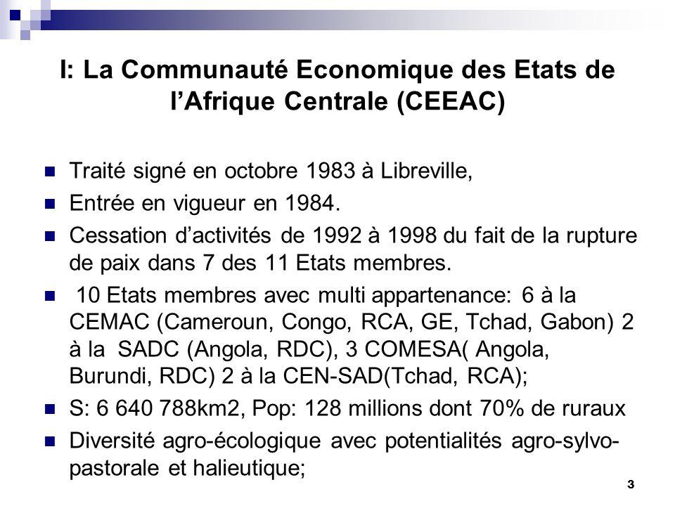 I: La Communauté Economique des Etats de l'Afrique Centrale (CEEAC)
