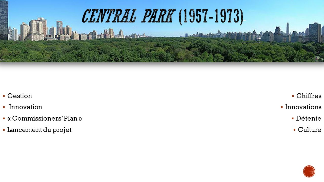 Central Park (1957-1973) Gestion Innovation « Commissioners' Plan »