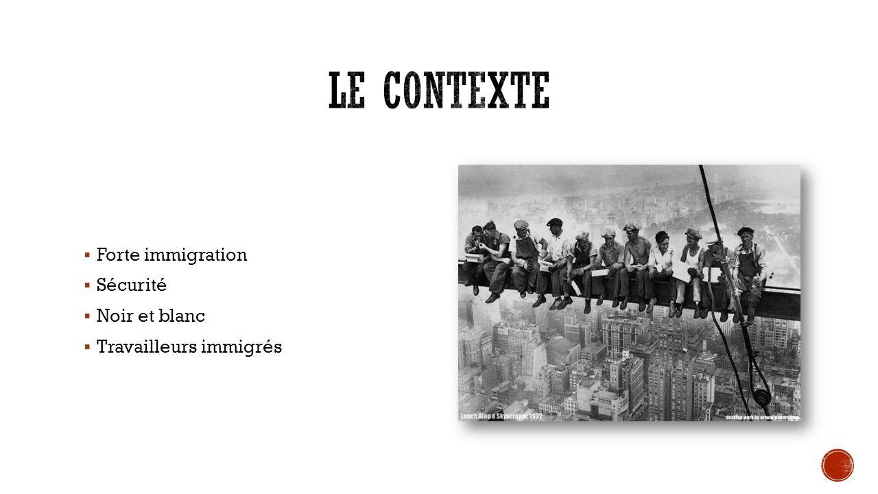 Le contexte Forte immigration Sécurité Noir et blanc