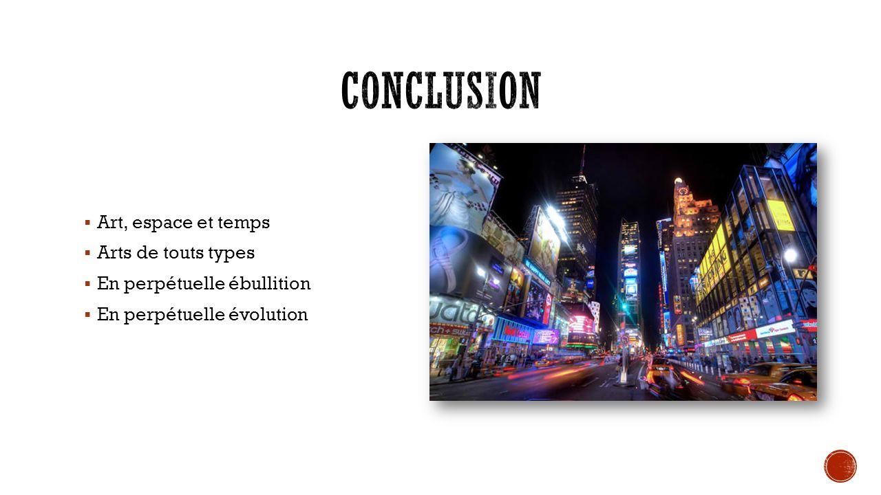 Conclusion Art, espace et temps Arts de touts types