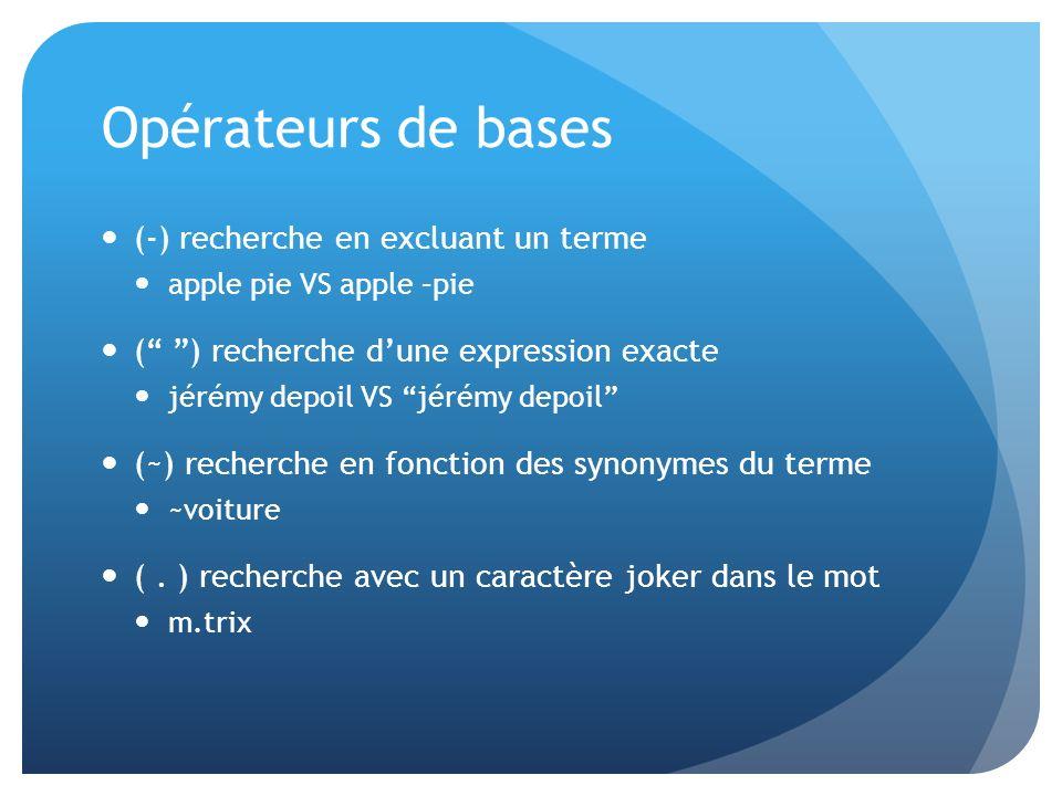 Opérateurs de bases (-) recherche en excluant un terme