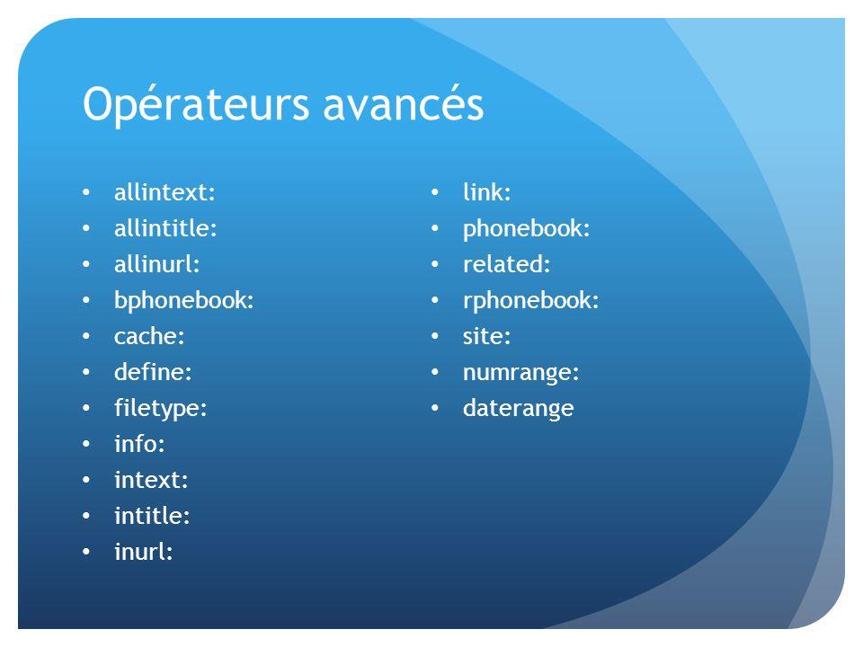 Opérateurs avancés allintext: link: allintitle: phonebook: allinurl: