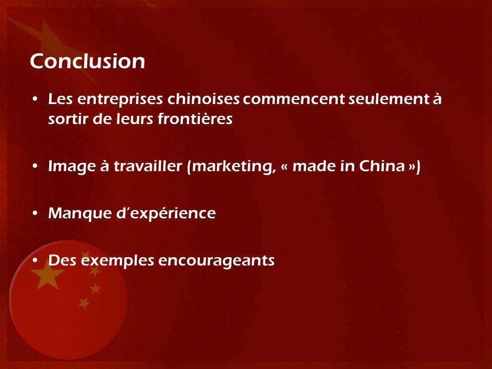 Conclusion Les entreprises chinoises commencent seulement à sortir de leurs frontières. Image à travailler (marketing, « made in China »)