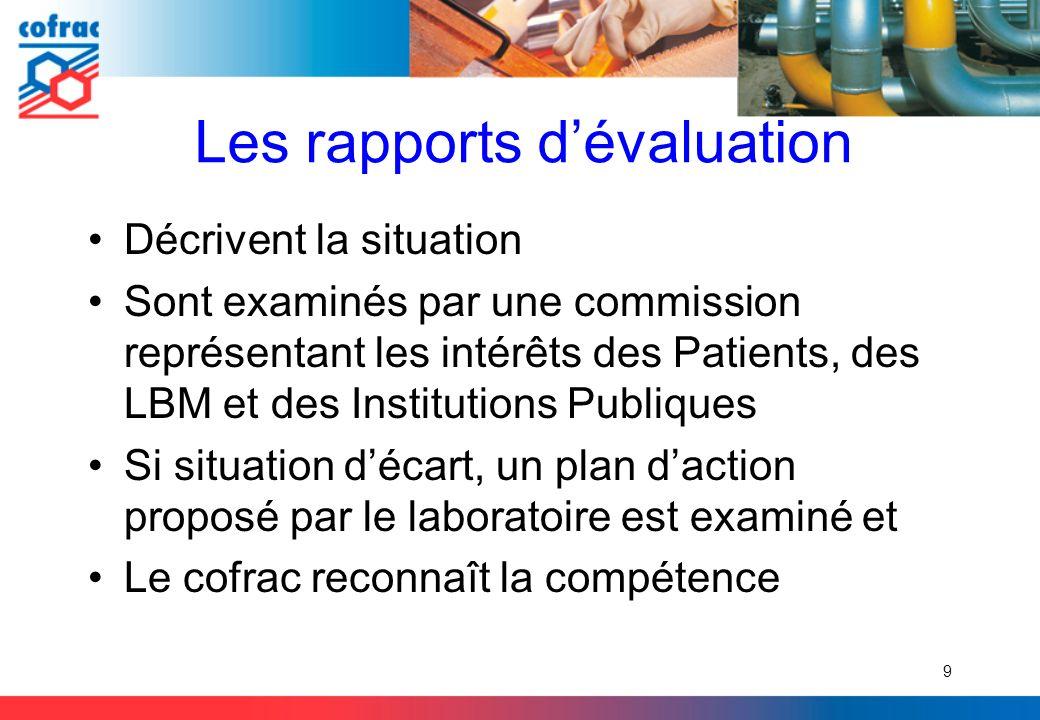 Les rapports d'évaluation