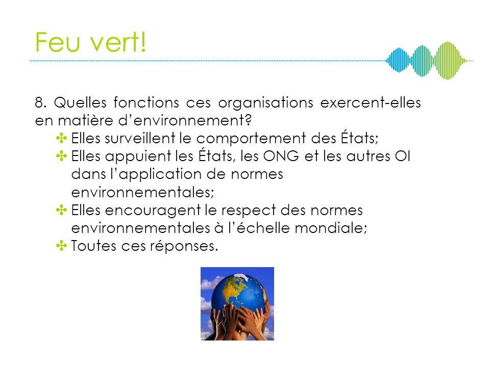 Feu vert! 8. Quelles fonctions ces organisations exercent-elles en matière d'environnement Elles surveillent le comportement des États;