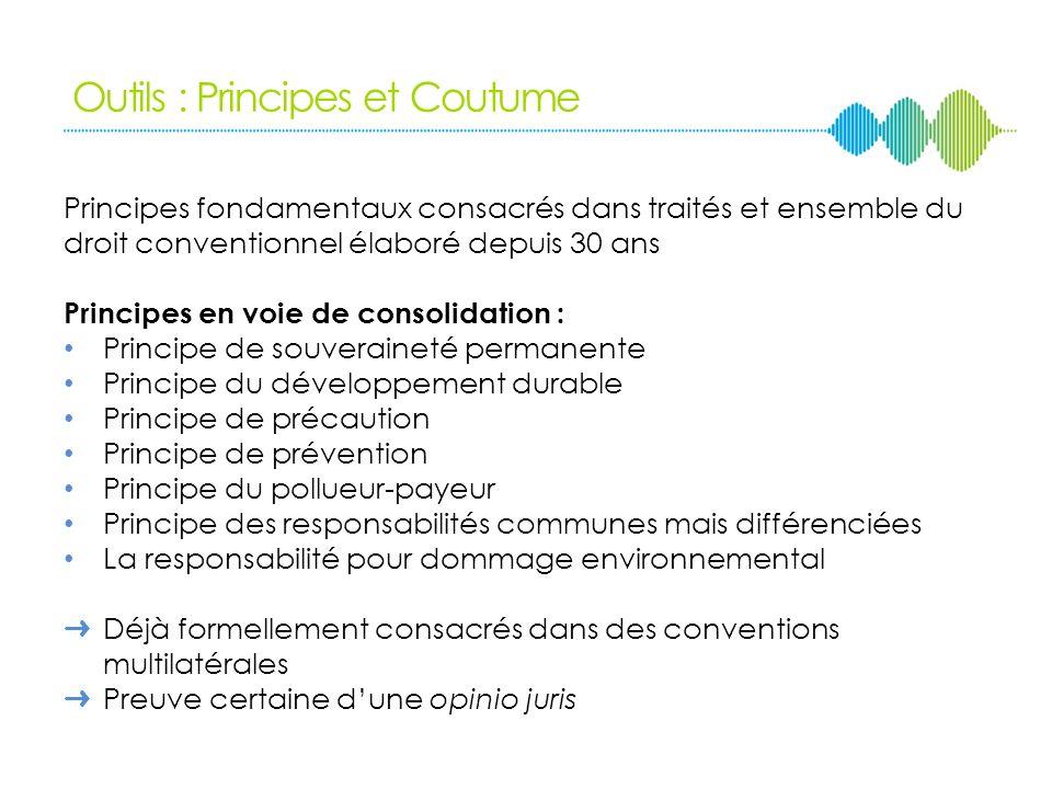 Outils : Principes et Coutume