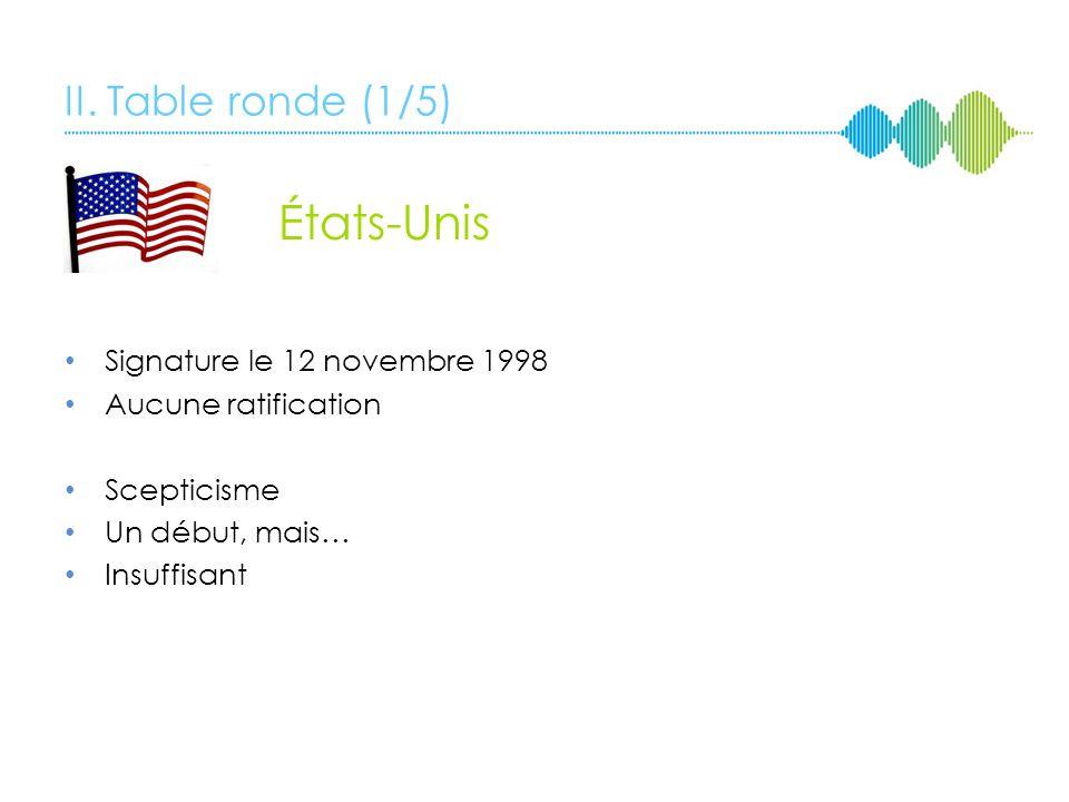 II. Table ronde (1/5) États-Unis Signature le 12 novembre 1998