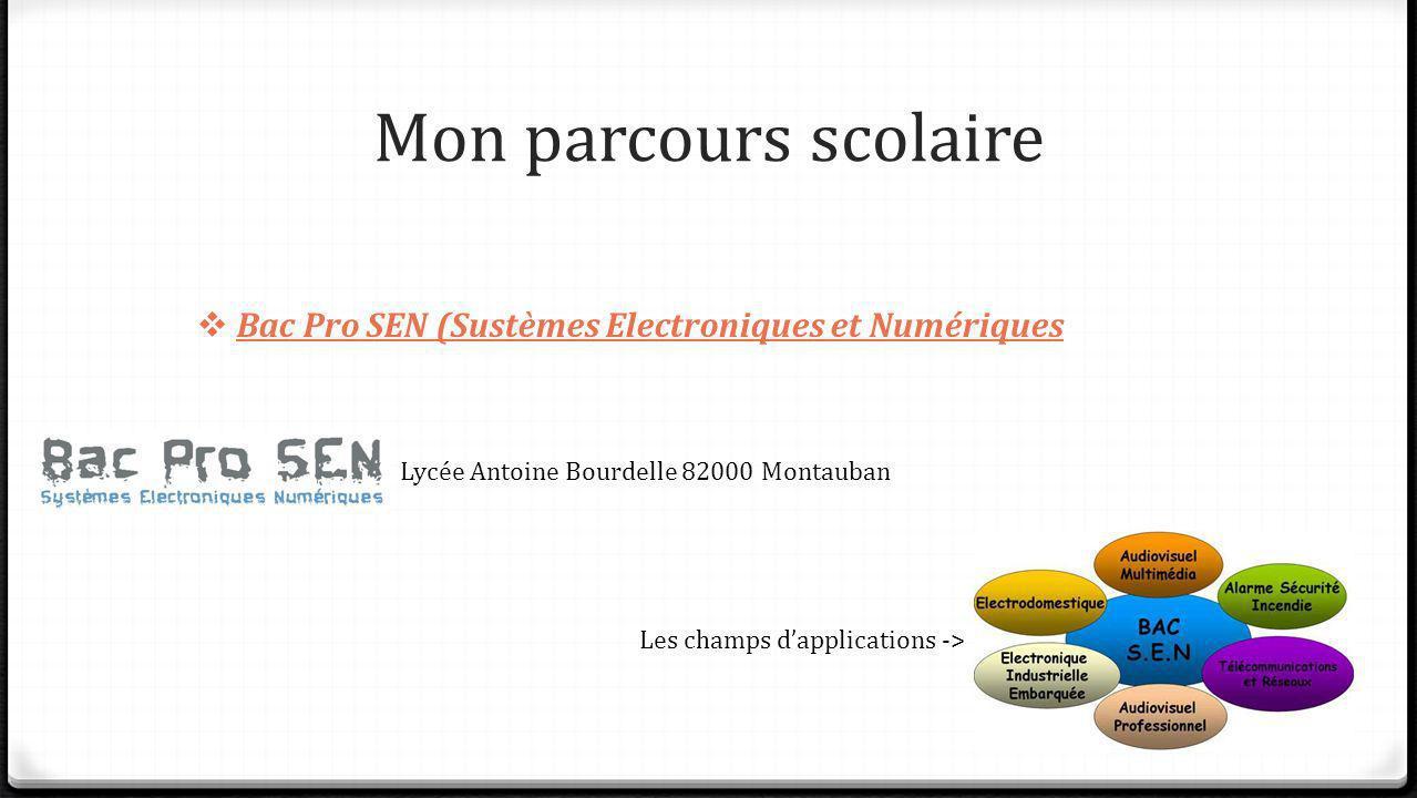 Mon parcours scolaire Bac Pro SEN (Sustèmes Electroniques et Numériques. Lycée Antoine Bourdelle 82000 Montauban.