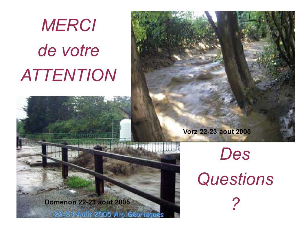 MERCI de votre ATTENTION Des Questions Vorz 22-23 aout 2005