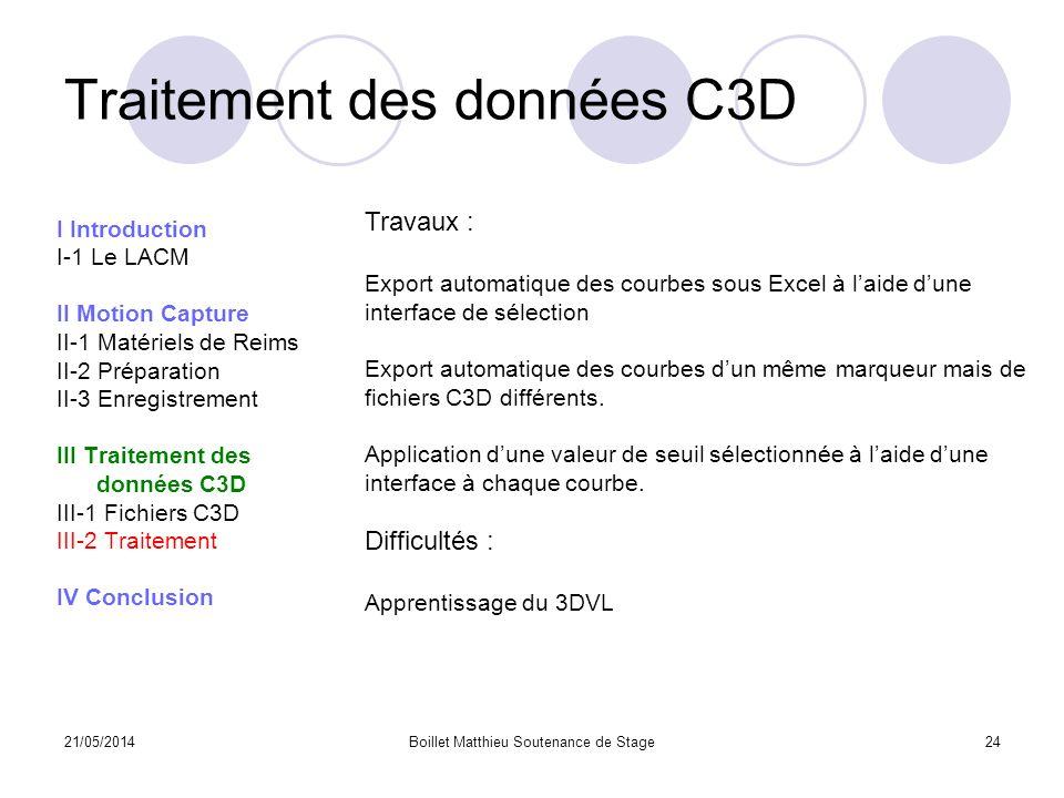 Traitement des données C3D