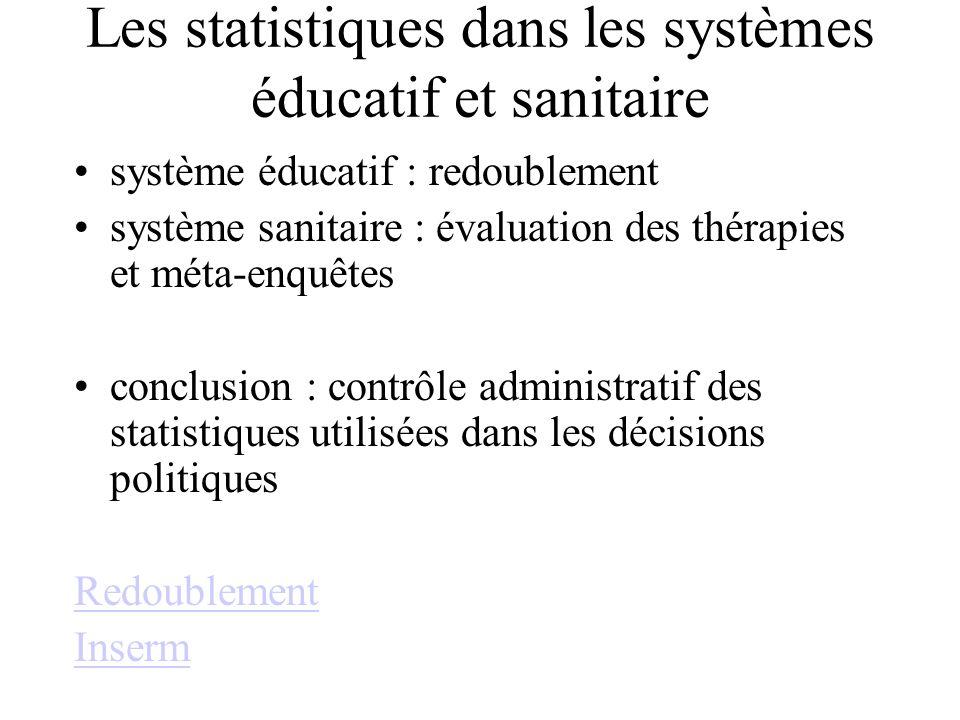 Les statistiques dans les systèmes éducatif et sanitaire