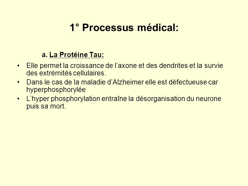 a. La Protéine Tau: 1° Processus médical: