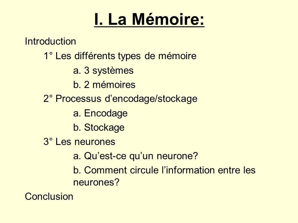 I. La Mémoire: Introduction 1° Les différents types de mémoire