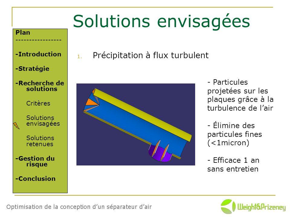 Solutions envisagées Précipitation à flux turbulent
