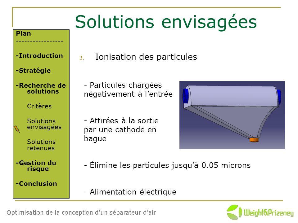 Solutions envisagées Ionisation des particules - Particules chargées
