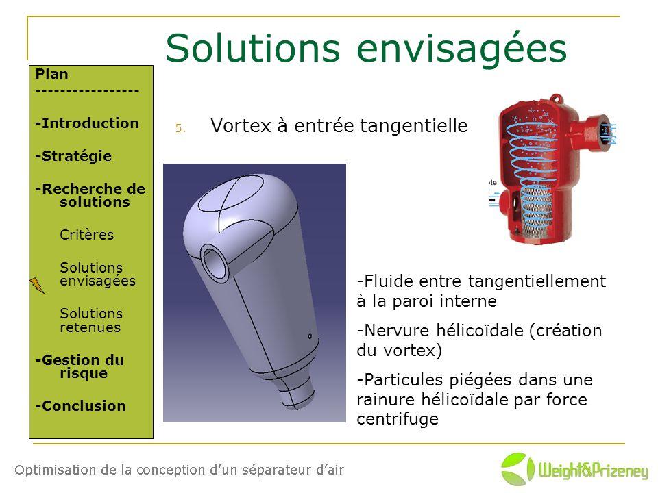 Solutions envisagées Vortex à entrée tangentielle