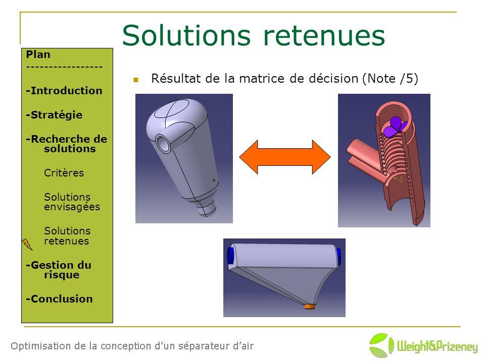 Solutions retenues Résultat de la matrice de décision (Note /5) Plan