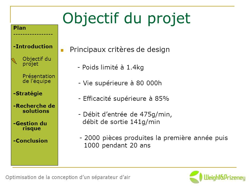 Objectif du projet Principaux critères de design