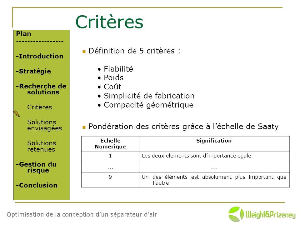 Critères Définition de 5 critères : Fiabilité Poids Coût