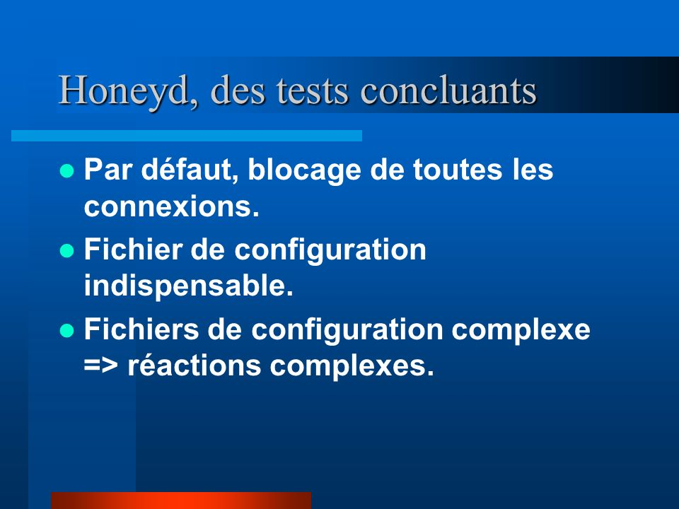 Honeyd, des tests concluants