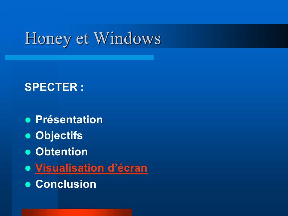 Honey et Windows SPECTER : Présentation Objectifs Obtention