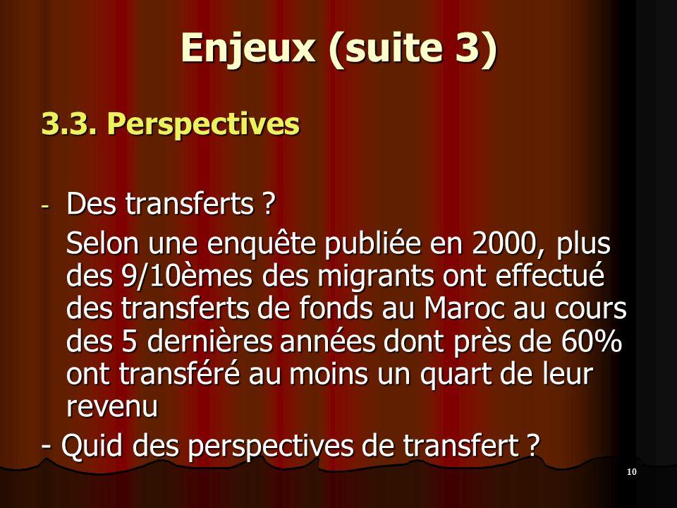 Enjeux (suite 3) 3.3. Perspectives Des transferts