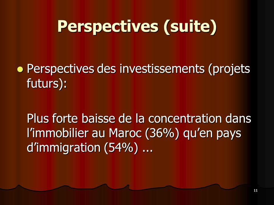 Perspectives (suite) Perspectives des investissements (projets futurs):