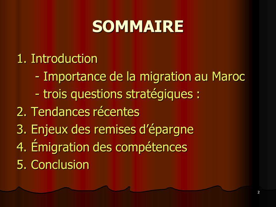 SOMMAIRE 1. Introduction - Importance de la migration au Maroc