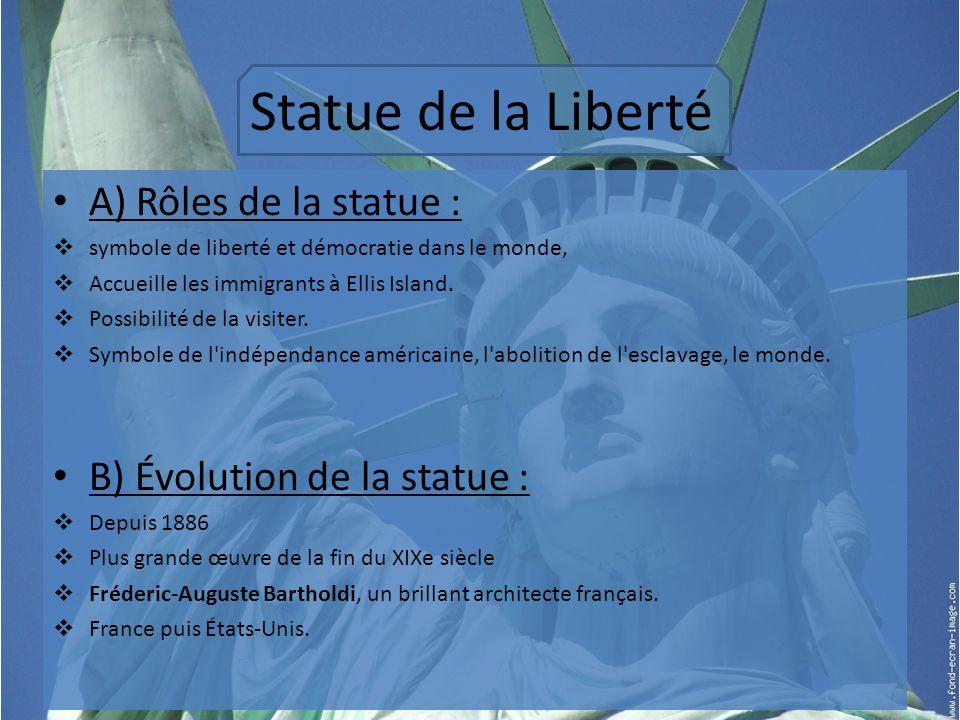 Statue de la Liberté A) Rôles de la statue :