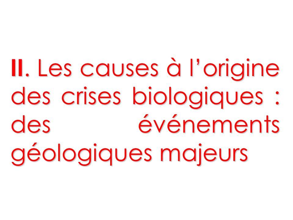 II. Les causes à l'origine des crises biologiques : des événements géologiques majeurs