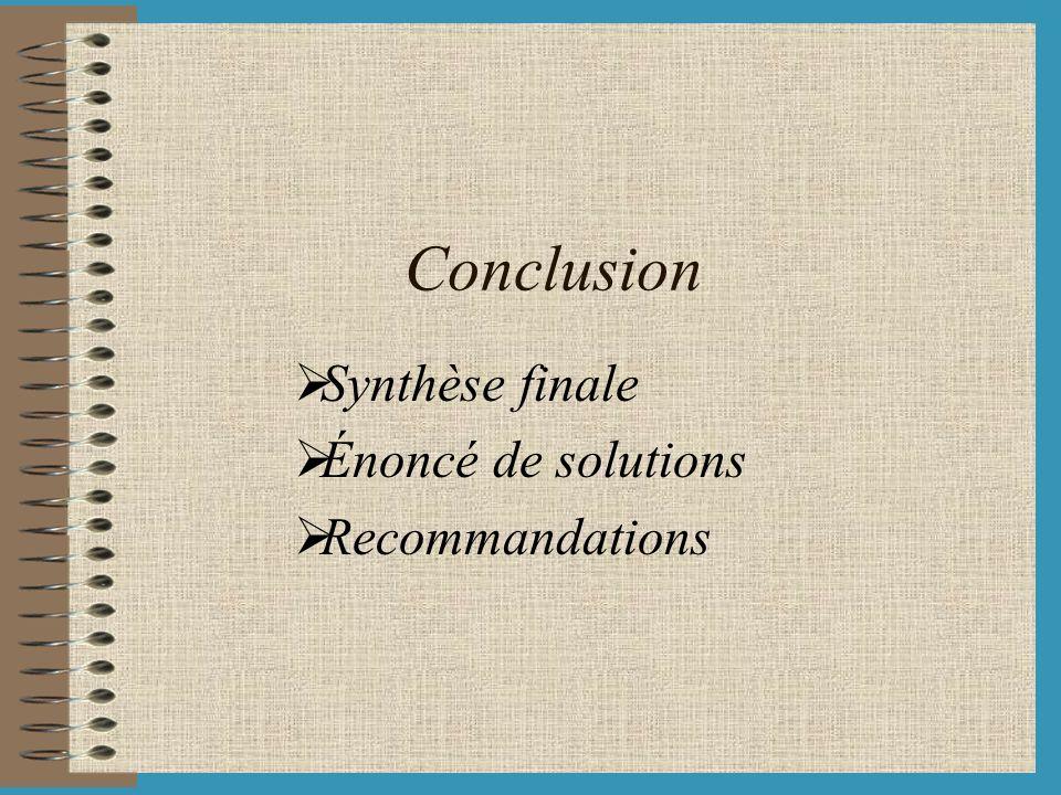 Synthèse finale Énoncé de solutions Recommandations