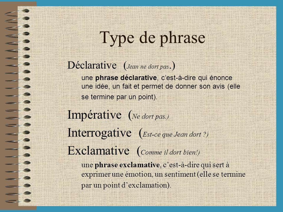 Type de phrase Impérative (Ne dort pas.)