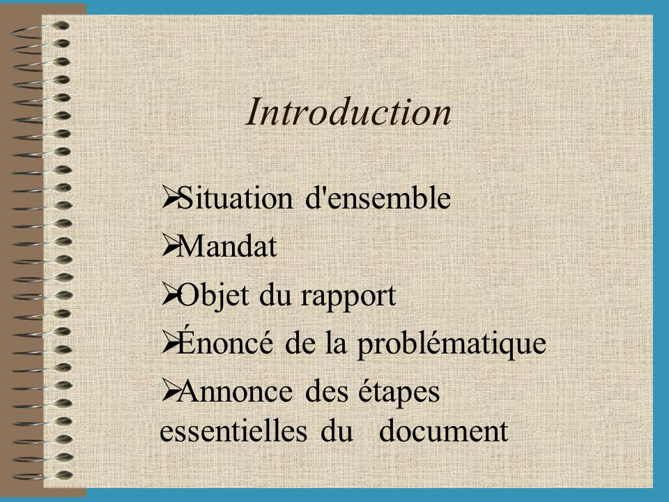Introduction Situation d ensemble Mandat Objet du rapport