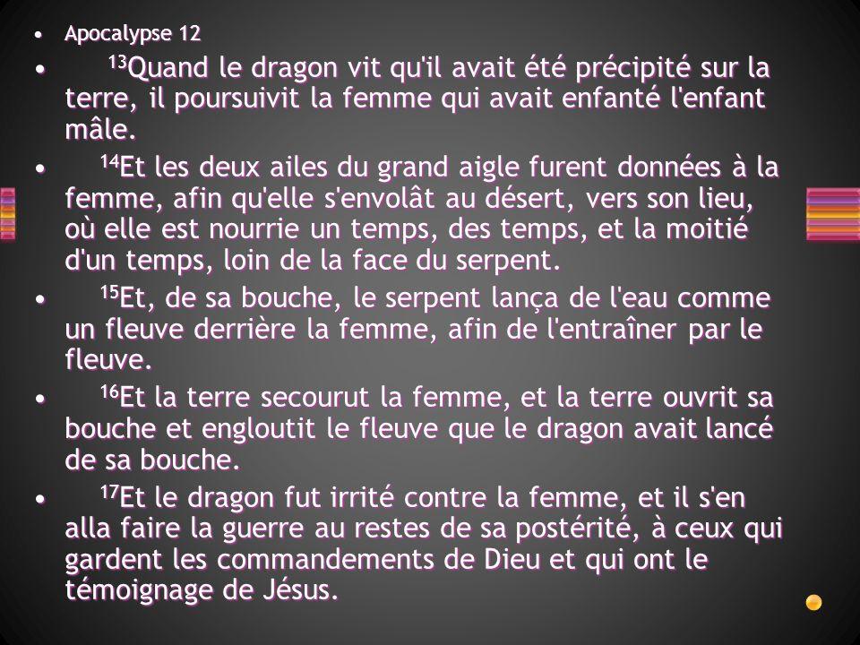 Apocalypse 12 13Quand le dragon vit qu il avait été précipité sur la terre, il poursuivit la femme qui avait enfanté l enfant mâle.