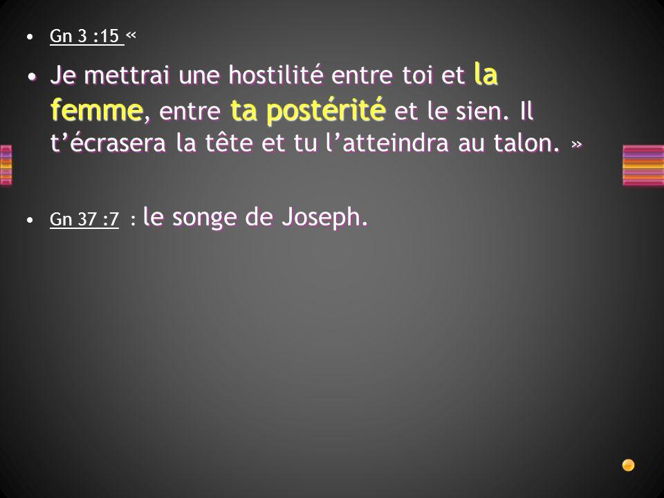 Gn 3 :15 « Je mettrai une hostilité entre toi et la femme, entre ta postérité et le sien. Il t'écrasera la tête et tu l'atteindra au talon. »