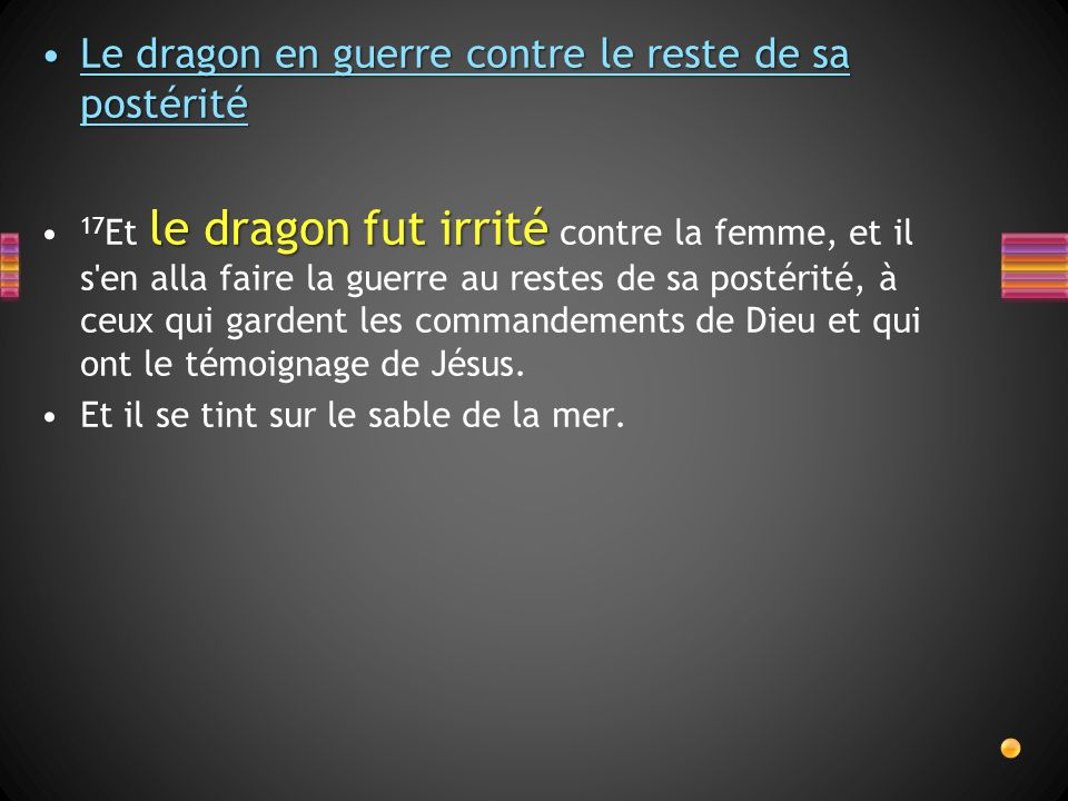 Le dragon en guerre contre le reste de sa postérité