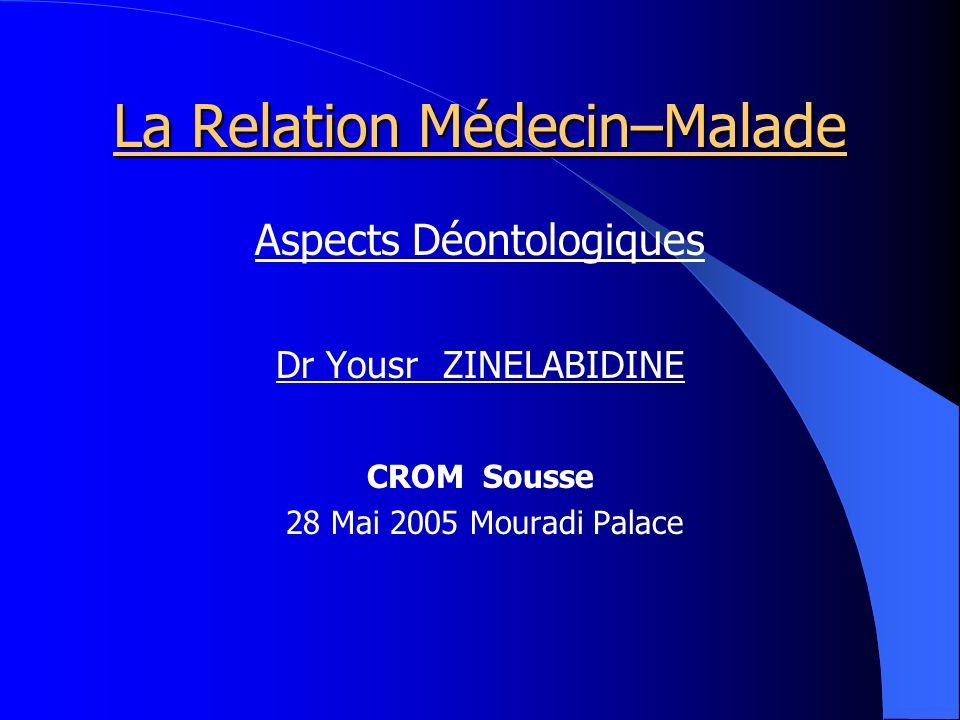 La Relation Médecin–Malade