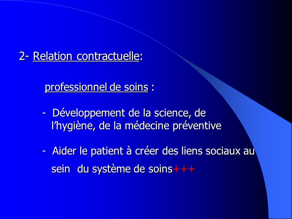 2- Relation contractuelle: