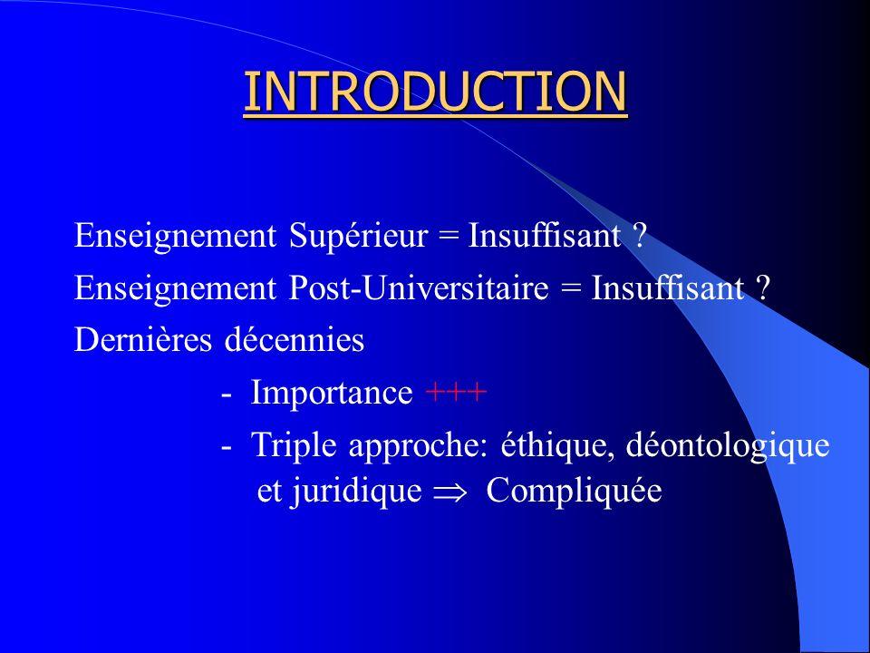 INTRODUCTION Enseignement Supérieur = Insuffisant