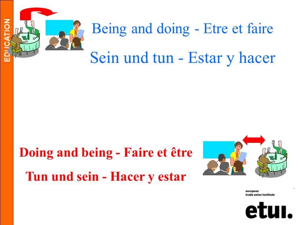 Doing and being - Faire et être Tun und sein - Hacer y estar