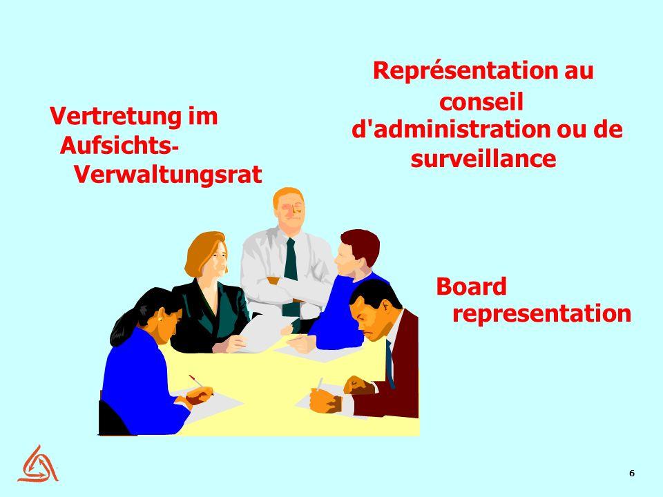 Représentation au conseil Vertretung im d administration ou de
