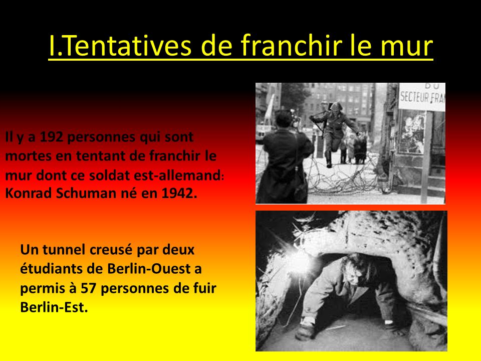 I.Tentatives de franchir le mur