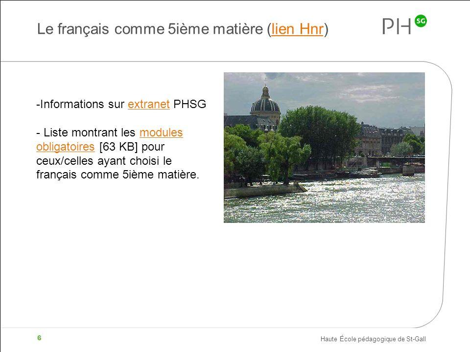 Le français comme 5ième matière (lien Hnr)