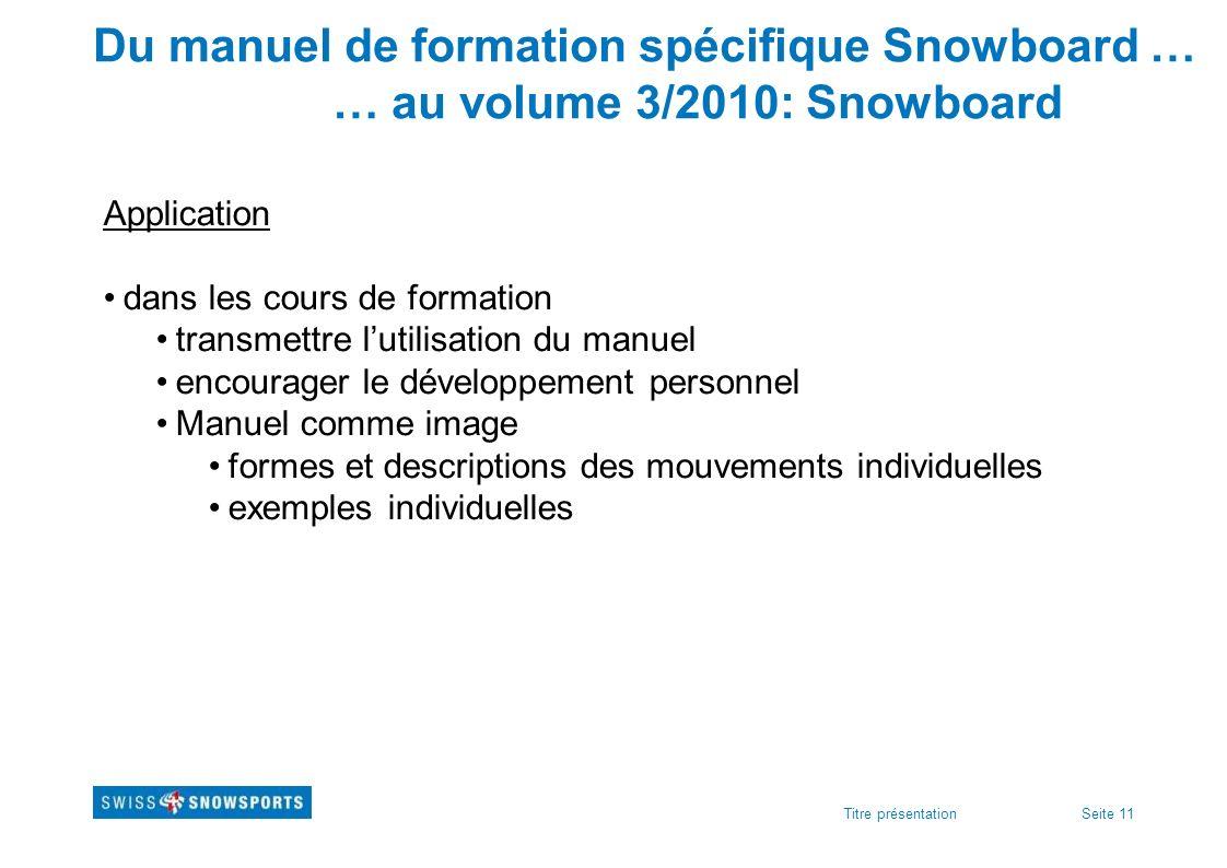 Du manuel de formation spécifique Snowboard …