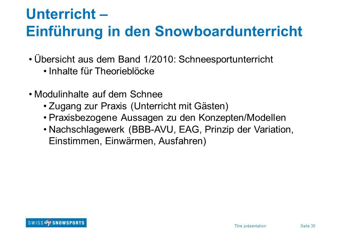 Unterricht – Einführung in den Snowboardunterricht