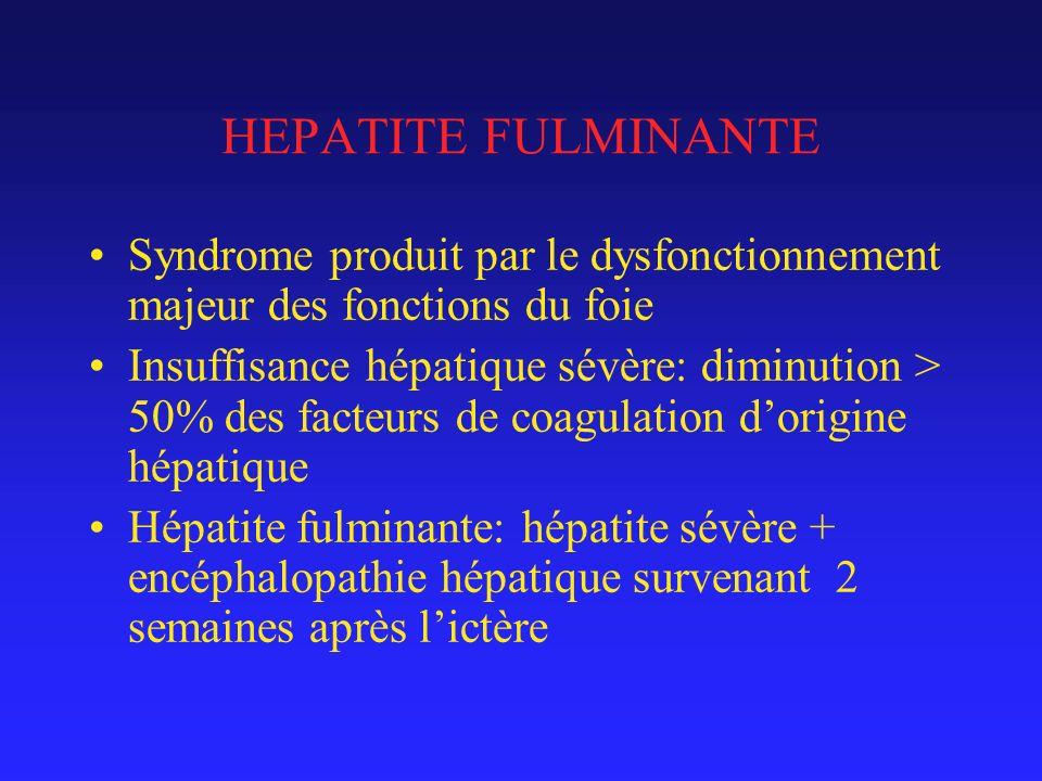 HEPATITE FULMINANTE Syndrome produit par le dysfonctionnement majeur des fonctions du foie.