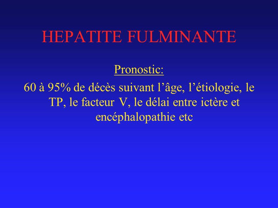 HEPATITE FULMINANTE Pronostic: