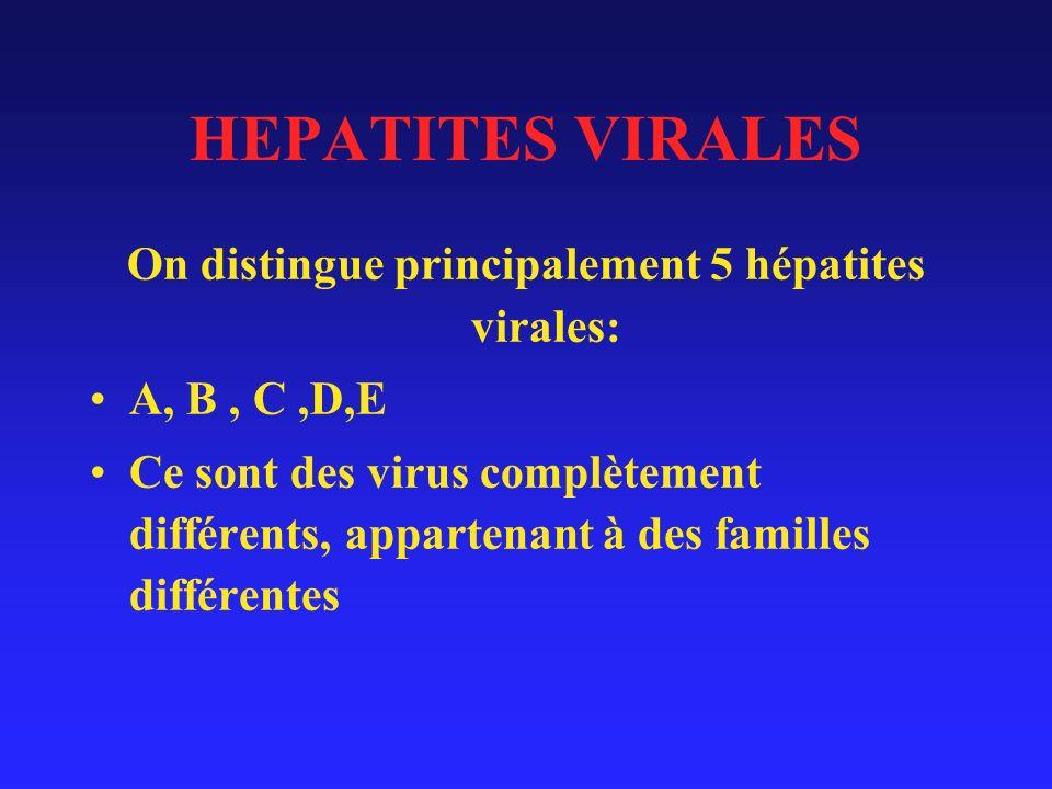 On distingue principalement 5 hépatites virales: